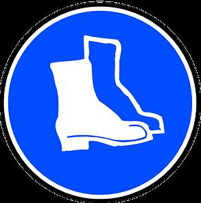 munkavédelem védő lábbeli tábla